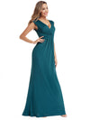 Women'S V-Neck Wrap Sleeveless Floor Length Maxi Dress Ep00927-Teal 3