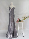 Backless Sequin Dresses With Side Split Ep00934-Grey 6