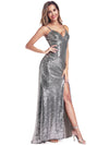 Backless Sequin Dresses With Side Split Ep00934-Grey 3