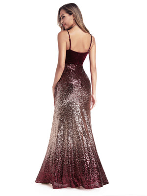 Ever-Pretty Women's V-Neck Spaghetti Straps Sequins Mermaid Dress EP00937