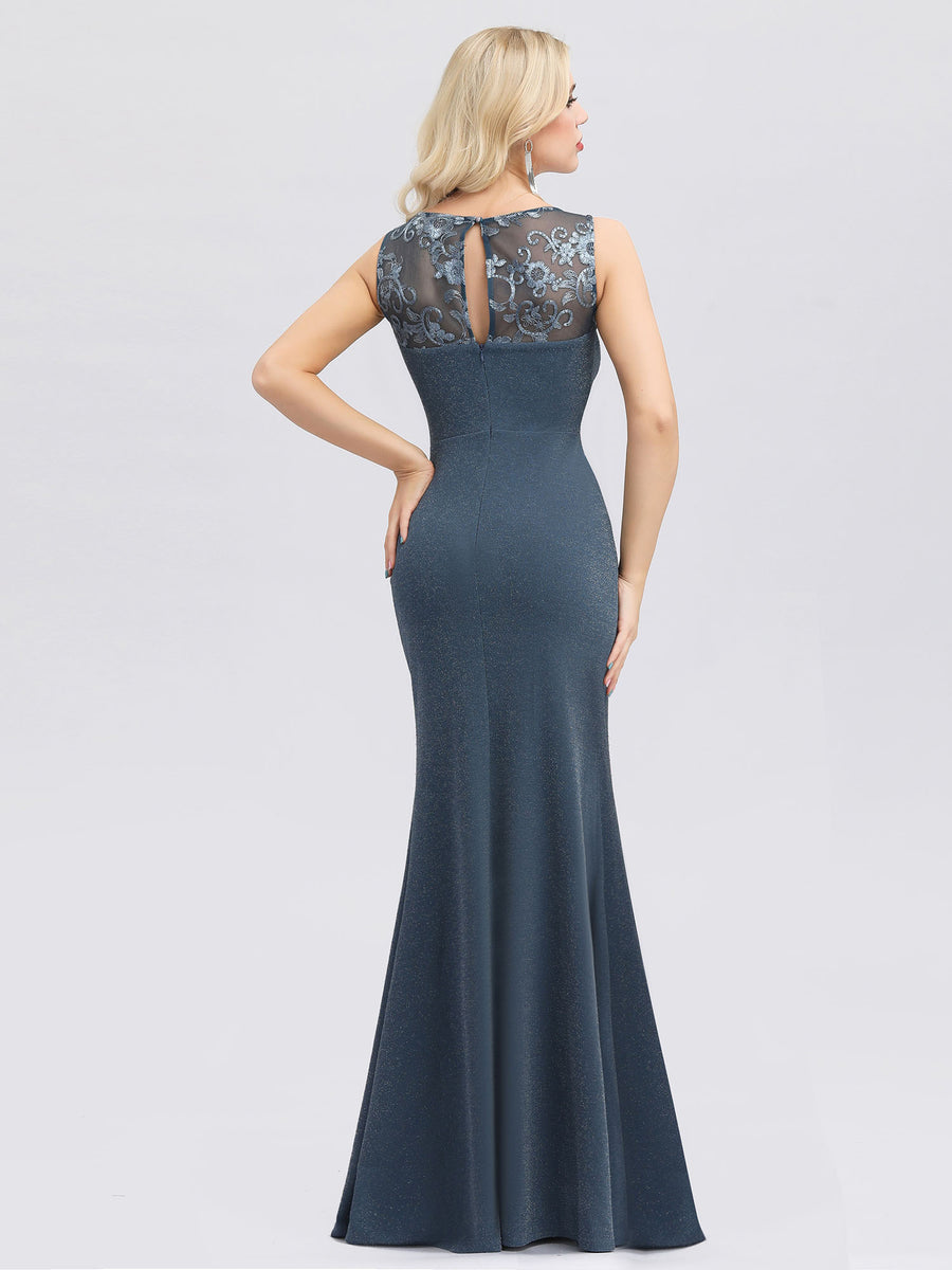 Ever-Pretty Elegant Lace Round Neck Fishtail Evening Dresses with Side Split EP00944 (3857278959680)