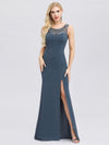 Elegant Lace Round Neck Fishtail Evening Dresses With Side Split Ep00944-Dusty Navy 4