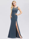 Elegant Lace Round Neck Fishtail Evening Dresses With Side Split Ep00944-Dusty Navy 1