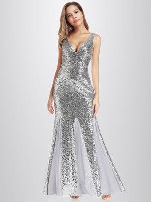 Ever-Pretty Women's Double V-Neck Sequin Dress Bodycon Mermaid Dresses EP00946 (3857280237632)