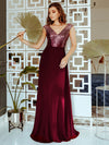 Ever-Pretty Women'S A-Line V-Neck Sequin Patchwork Evening Dresses Ep00962-Burgundy 1