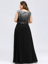 V Neck Sleeveless Floor Length Sequin Party Dress-Black 7