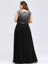 Ever-Pretty Plus Size Women'S A-Line V-Neck Sequin Patchwork Evening Dresses Ep00962-Black 2