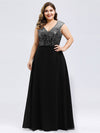 Ever-Pretty Plus Size Women'S A-Line V-Neck Sequin Patchwork Evening Dresses Ep00962-Black 3