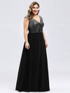 Ever-Pretty Plus Size Women'S A-Line V-Neck Sequin Patchwork Evening Dresses Ep00962-Black 4