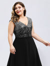 V Neck Sleeveless Floor Length Sequin Party Dress-Black 10