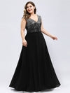Ever-Pretty Plus Size Women'S A-Line V-Neck Sequin Patchwork Evening Dresses Ep00962-Black 1