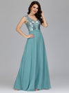 V Neck Sleeveless Floor Length Sequin Party Dress-Dusty Blue 8