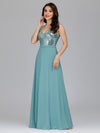 V Neck Sleeveless Floor Length Sequin Party Dress-Dusty Blue 9
