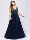 V Neck Sleeveless Floor Length Sequin Party Dress-Navy Blue 6