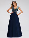 V Neck Sleeveless Floor Length Sequin Party Dress-Navy Blue 2