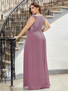 Ever-Pretty Plus Size Women'S A-Line V-Neck Sequin Patchwork Evening Dresses Ep00962-Purple Orchid 2