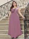 V Neck Sleeveless Floor Length Sequin Party Dress-Purple Orchid 14