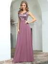 V Neck Sleeveless Floor Length Sequin Party Dress-Purple Orchid 8