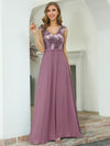 V Neck Sleeveless Floor Length Sequin Party Dress-Purple Orchid 9