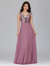 V Neck Sleeveless Floor Length Sequin Party Dress-Purple Orchid 4
