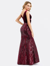 Women'S Double V-Neck Patchwork Bodycon Mermaid Dress Ep00969-Burgundy 5