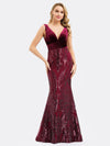 Women'S Double V-Neck Patchwork Bodycon Mermaid Dress Ep00969-Burgundy 6