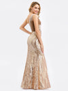 Women'S One Shoulder Velvet Patchwork Mermaid Maxi Dress Ep00970-Rose Gold 5