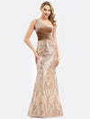 Women'S One Shoulder Velvet Patchwork Mermaid Maxi Dress Ep00970-Rose Gold 6