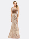 Women'S One Shoulder Velvet Patchwork Mermaid Maxi Dress Ep00970-Rose Gold 4