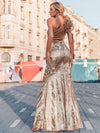 Women'S One Shoulder Velvet Patchwork Mermaid Maxi Dress Ep00970-Rose Gold 2