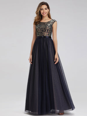 Ever-Pretty Women's A-Line Cap Sleeve Patchwork Evening Dress EP00976