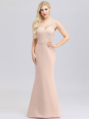 Ever-Pretty Elegant Lace Print Pink Bridesmaid Dresses EP00978