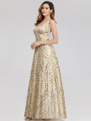 Ever-Pretty Double V Neck Floor Length Sequin Prom Dresses EP00985 (3926533210173)