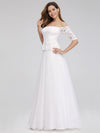Women'S A-Line Off The Shoulder Floor-Length Wedding Dresses Ep00986-White 3
