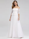 Women'S A-Line Off The Shoulder Floor-Length Wedding Dresses Ep00986-White 4