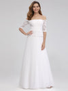 Women'S A-Line Off The Shoulder Floor-Length Wedding Dresses Ep00986-White 6