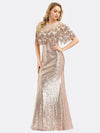 Women'S Off Shoulder Sequin Beads Bodycon Evening Dress Ep00991-Rose Gold 4