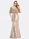 Women'S Off Shoulder Sequin Beads Bodycon Evening Dress Ep00991-Rose Gold 5