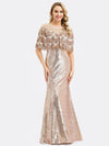 Women'S Off Shoulder Sequin Beads Bodycon Evening Dress Ep00991-Rose Gold 1