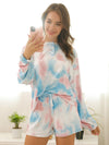 Women'S Casual Tie-Dye Pajamas Loungewear Set-Light Blue 4