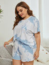 Casual Round Neck Tie-dye Loungewear Set Pajamas-Sky Blue 8