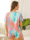 Casual Round Neck Tie-dye Loungewear Set Pajamas-Green 2