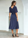 Classic V Neck Knee-Length Ruched Wholesale Cocktail Dresses-Dusty Navy 2