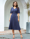 Classic V Neck Knee-Length Ruched Wholesale Cocktail Dresses-Dusty Navy 4