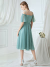 Off-Shoulder With Strap Appliqued Mesh Short Bridesmaid Dress Ep03112-Dusty Blue 2