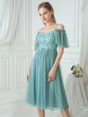 Off-Shoulder With Strap Appliqued Mesh Short Bridesmaid Dress Ep03112-Dusty Blue 3