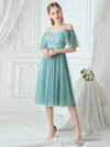 Off-Shoulder With Strap Appliqued Mesh Short Bridesmaid Dress Ep03112-Dusty Blue 4