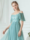 Off-Shoulder With Strap Appliqued Mesh Short Bridesmaid Dress Ep03112-Dusty Blue 5