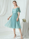 Off-Shoulder With Strap Appliqued Mesh Short Bridesmaid Dress Ep03112-Dusty Blue 1