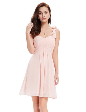 Ever-Pretty One Shoulder Flowers Padded Ruffles Bridesmaid Dress EP03535